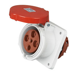 China Red 63a 3 Phase Socket , 400 Volts 4 Pins Industrial Power Socket Outlet supplier