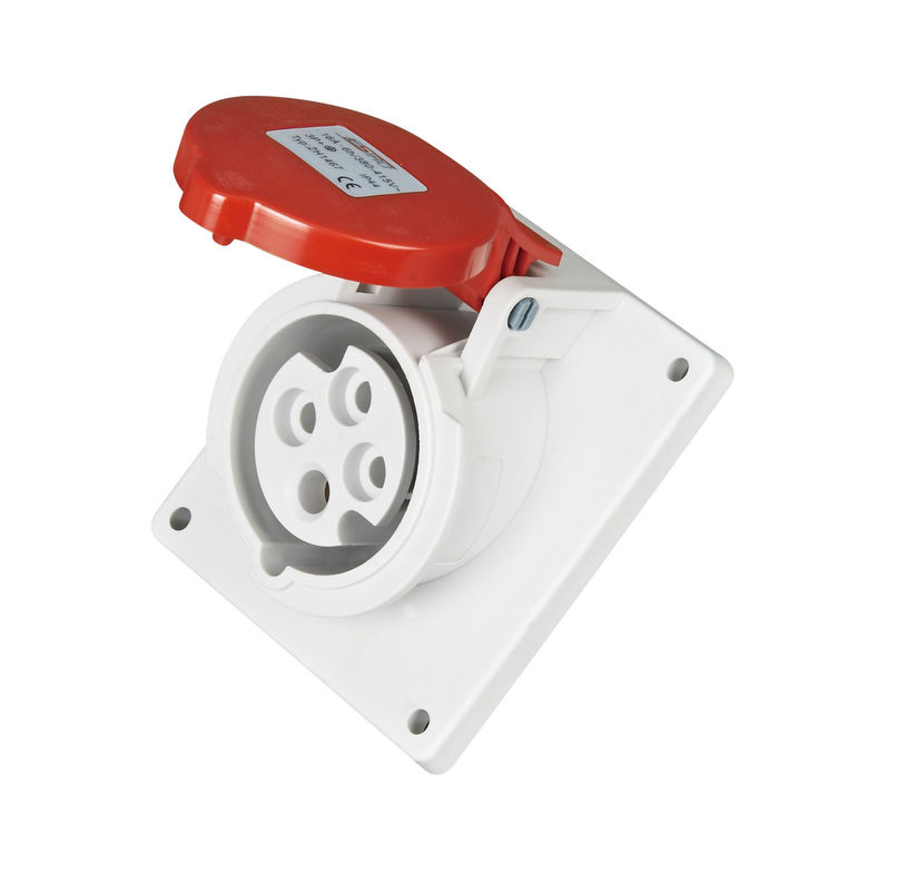 16  Amps Three Phase Power Socket , IP44 Red Cover 4 Pin Plug And Socket